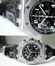 discount men Men's CHRONO STAINLESS STEEL BLACK LEATHER Japanese quartz Chronograph sports watch