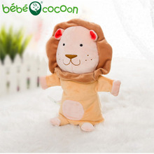 bebecocoon NEW Unisex Child Kids Cute Plush Velour Lovely Lion Animals Hand Puppets Chic Designs Learning Aid Toys Dolls(China)