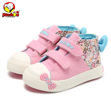 Canvas Children Sneakers 2017 Bowknot Girls Princess Shoes Denim Kids Sneakers Floral Flat Boots for Girls Baby Toddler Shoes(China)