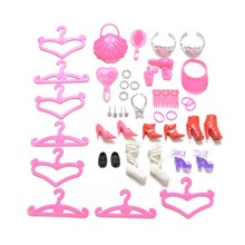 34 pcs Doll Accessories Plastic Shoes Bag Hanger Comb Bracelet Necklace for Barbie Dolls Girls Toys Kids Gift