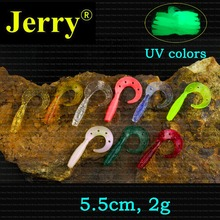 Jerry 50pcs 5.5cm/2in curly tail grubs soft lures for bass fishing jigging pesca freshwater artificial bait jelly worms