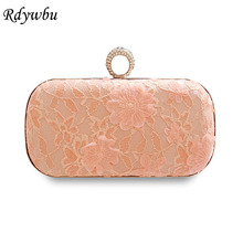 Rdywbu Luxury Blue Lace Flower Evening Shoulder Bag Women's Finger Ring Pink Chain Clutches Luxurious Diamond Wedding Purse B546(China)