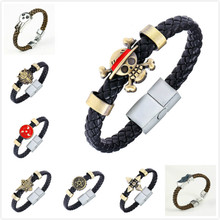 HSIC Cartoon Anime Naruto Konoha Black Butler Bracelet  Conan Maganetic Button One Piece Final Fantasy Wristband Kids