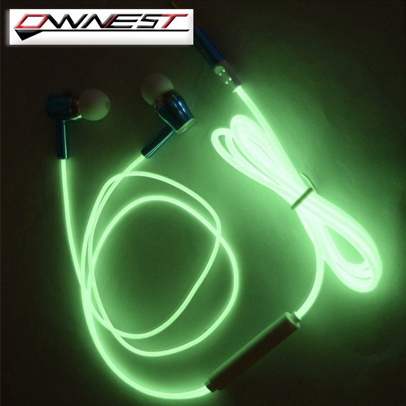 OWNEST 2016 New Glow In The Dark Earphone Luminous Headphones Night Light Glowing Headset In-Ear Stereo Sport Headphone With Mic<br><br>Aliexpress