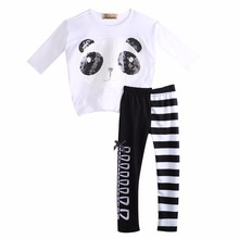 2016 New Fashion Kids Girls Clothes Baby Girls Kawaii Batwing Long Sleeve Panda T-Shirt Top+Striped Leggings 2PCS Children Set