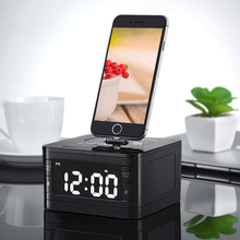 8 Pin Charger Dock Station Radio Alarm Clock Portable Audio Music Wireless Bluetooth Speaker for iPhone SE 5S 5C 6 6s Plus