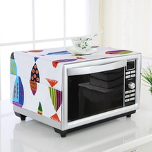 Microwave Oven Cover Cartoon Art Oil-proof Dustproof Safety Oven Cover Towel Pocket Storage Bag Home Kitchen Decoration 35*100cm(China)