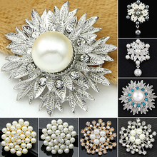 Bluelans Alloy Flower Faux Pearls Brooch Crystal Pin Brooches Wedding Party Jewelry Gift