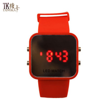 Selling leisure sports men and women watches digital display date silicone watch gel mirror neutral LED sports watch(China)