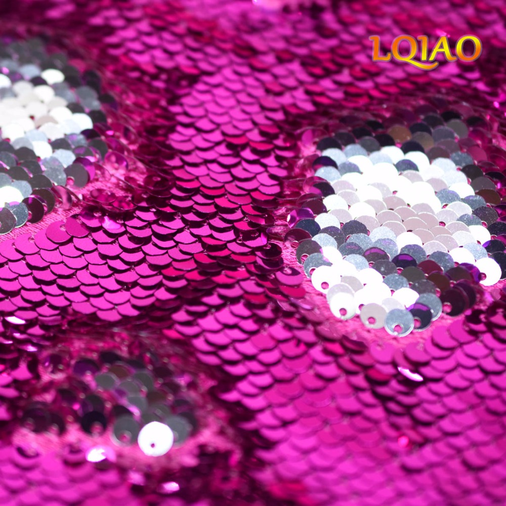 Fuchsia Silver Sequin Fabric-004