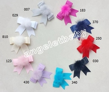 "50pcs Hi-Q 2.5"" girl hair bows clips with Mink Fur Craft pompon pom pom lovely Pompoms hair barrettes accessories Hairpins GR103"