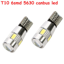 2 pcs High power T10 w5w led car light t10 6smd 5630 5w5 12v t10 white car bulb Lamp interior light w5w t10 canbus error free