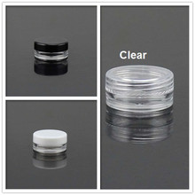 200x3g Black & White Clear Cosmetic Jar Mineral Powder Plastic Sample Bottle Lip Balm Pot PE Mat for you(China)