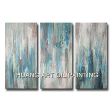 100% Handmade Oil Paintings Green Blue Abstract Landscape Wall Picture 3 Panels Group Paintings on Canvas for Home Decor Art(China)