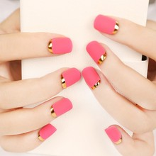 24pcs/set Rose Pink Matte Fake Nails French Nail Tips with Metal Side Full Cover Metallic Gold French Artificial Nail Faux Olges