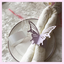 250gsm Pearlescent Paper Butterfly Napkin Rings Weddings Party Serviette Table Decoration MJ-21