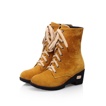 New Autumn Fashion Black Brown Red Orange Yellow Women Military Combat Ankle Boots Ladies Shoes A3576M Plus Big Size 34 43 10