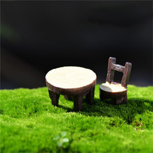 2Pcs/1 Set Desk Chair DIY Resin Fairy Garden Craft Decoration Miniature Micro Gnome Home Garden Decoration Gift