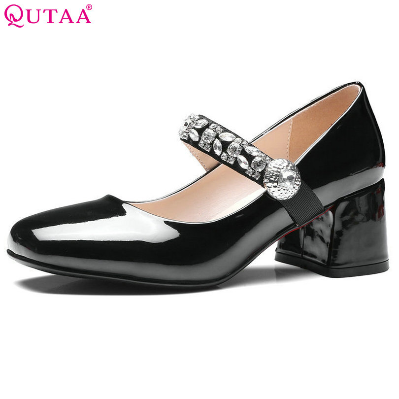 QUTAA 2017 Women Pumps Summer Ladies Shoe Square Med Heel PU Leather Ankle Strap Rhinestone Woman Wedding Shoes Size 34-43<br>