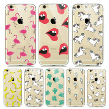 Cell Phone Case Cover For iPhone 5 6 S SE 5S 6S Plus 6plus 6sPlus Lips Flamingos Bananas Unicorns Skin Ultrathin Silicon Casing