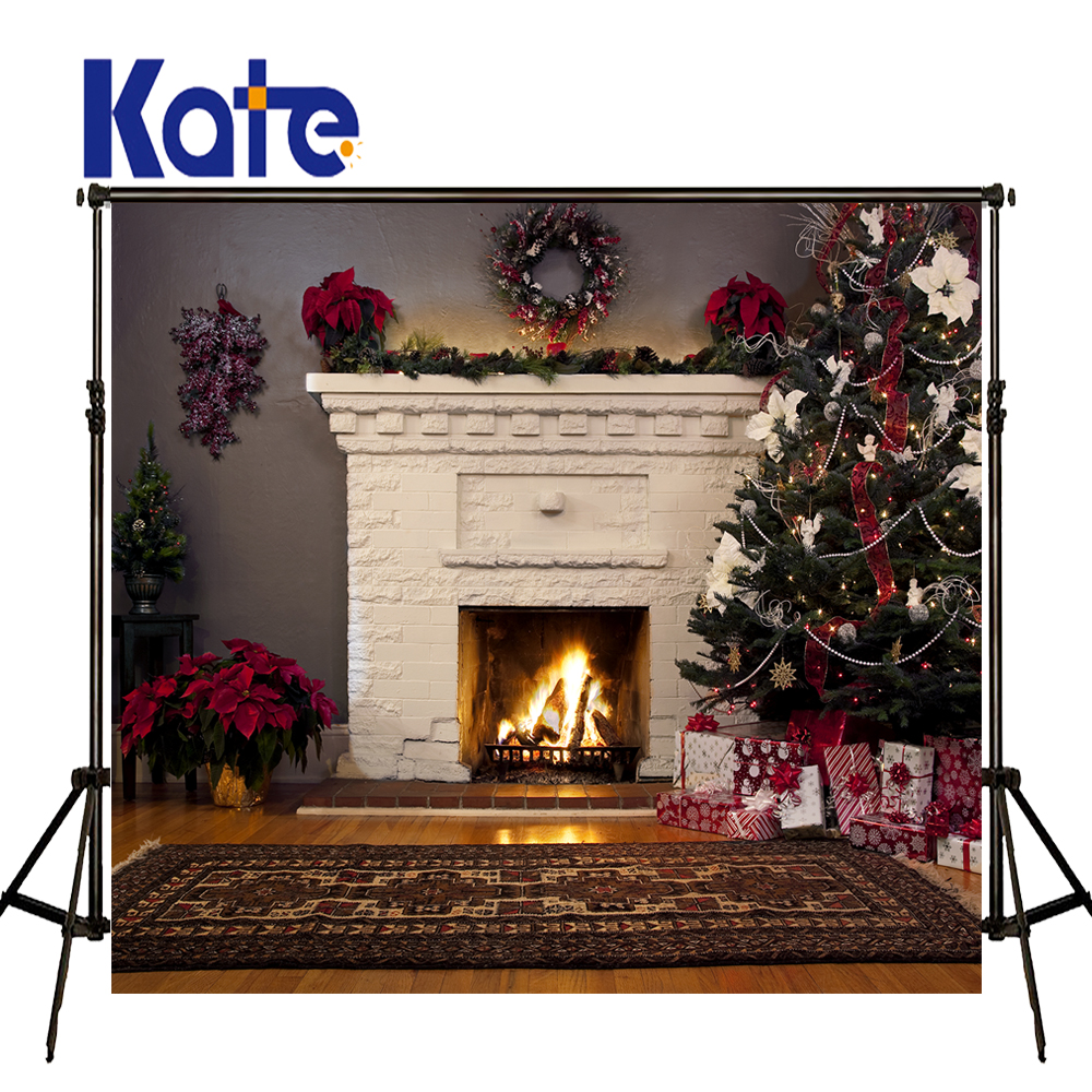 KATE Photography Backdrop Christmas Photography Backdrops Fireplace Garland Background Gift Box Arbol De Navidad  Madera Photo<br>
