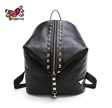 Purchase BRITTO Genuine Leather Backpack Women Solid Daily Daypack Fashion Soft Handle Ladies Bags