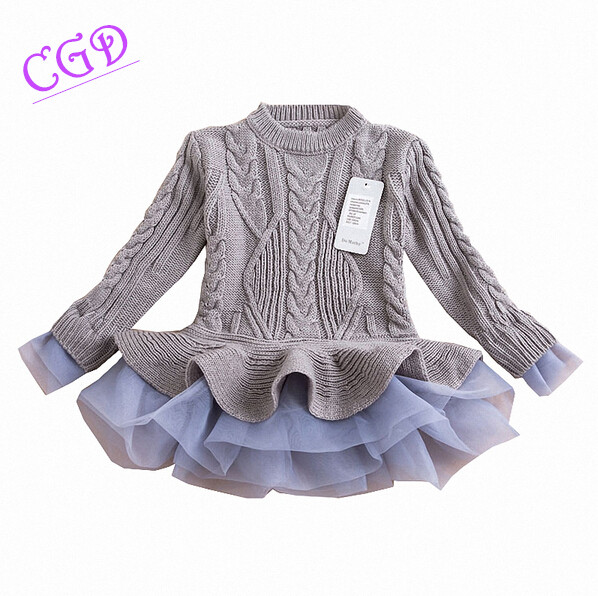 Girl autumn sweater dress 2017 new fashion winter warm long sleeve tutu dresses kids princess clothing baby girls<br><br>Aliexpress