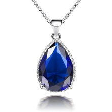 Blue Crystal Necklaces Pendants Cz Halo Water Drop Crystal Pendant Necklace for Women Wedding Party Jewelry Mother's Day Gift(China)