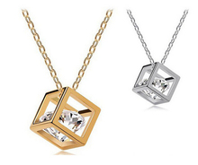 2015 Luxury gold and silver Water Cube box inlaid Austria zircon necklaces & pendants jewelry for women collares N207