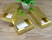 5 sizes Small large Luxury gold/sliver kraft paper sliding box, cardboard drawer box, CD sleeve gold slide box Custom gift box(China)