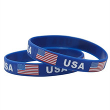 1000pcs USA American Flag Sport Silicone Bracelets Hologram ID Wristbands World Cup Football Wrist Strap Bangle Outdoor Gifts