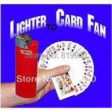 Free Shipping Lighter To Card Fan-Magic Trick ,Accessories,fire,mentalism,stage,close up,comedy