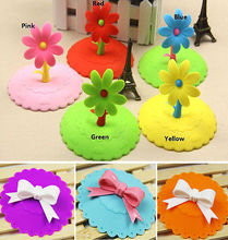 Silicone Cute Anti-dust Sunflower Cup Cover Coffee Airtight Mug Suction Lid Cup Cap Color Sent by Random
