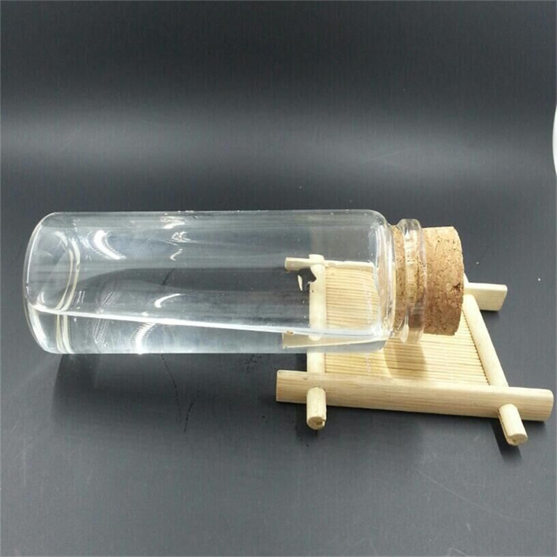 150ml Glass Bottles With Cork Clear Transparent Glass Jars Empty Wishing Bottles Wood Stopper