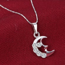 New Luxury Bling Austrian Crystal Rhinestone Rhodium Plated Necklace Moon Hollow Out Pendant Necklace For Women Sweater Necklace