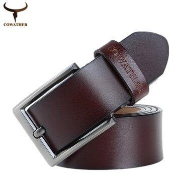 COWATHER 2016 mens vaca cinturones de cuero genuino correa masculina de la correa de lujo para hombres moda de nueva classice vendimia hebilla envío gratis