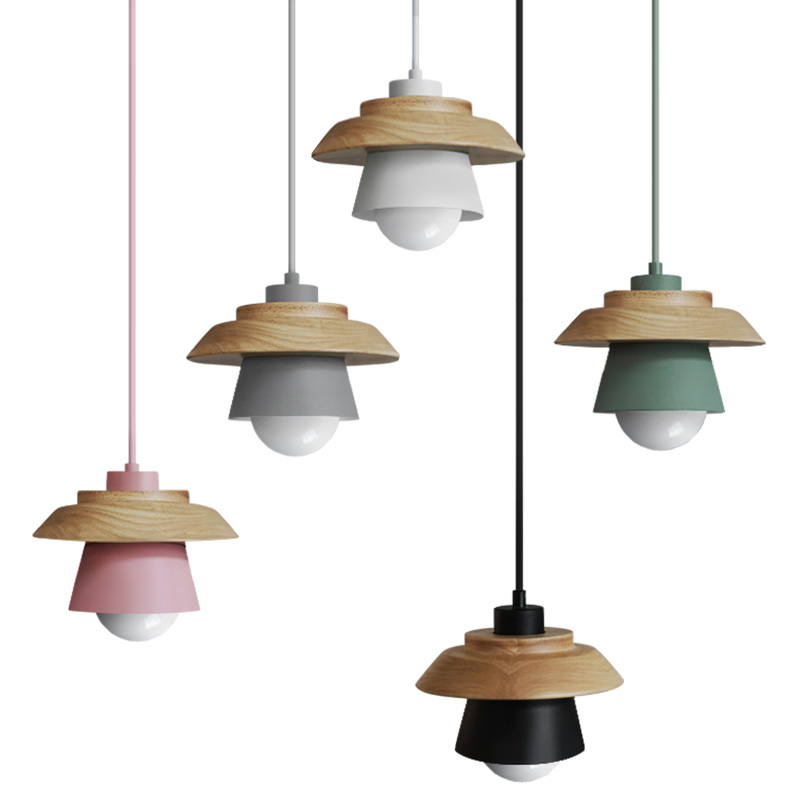 The Nordic modern minimalist bedroom small chandelier iron wood bowl hall creative personality Macarons restaurant LED lamp<br>
