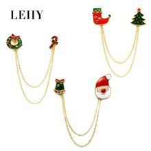 New Design Christmas Santa Claus Tree Stocking Candy Cane Wreath Jingle Bells With Gold-color Chain Brooches For Women Girls