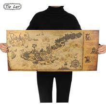 TIE LER Retro Kraft Pirate Sailing World Map Poster Wall Sticker Living Room Bar Cafe Decor Ancient World Vintage Maps 72.5X33cm
