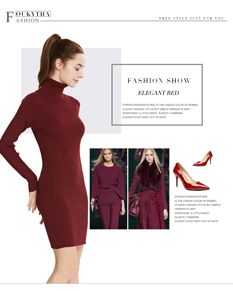 17 Winter High Collar Pullover Sweater Women Dress Slim Simple Sweaters pullovers long sleeve Dresses Package Hip Bottoming 4
