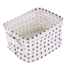 Best White&Black Linen Desk Storage Basket Holder Jewelry Stationery Office Case Organizer For Cosmetics (Cross model)