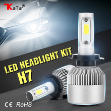 Katur 2pcs H7 COB LED Car Headlights Kit 80W 8000lm Front Fog Light Bulbs 6500K 12V 24V Led Automotive Headlamp External Lamp(China)