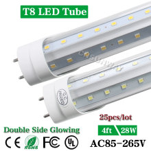 25pcs 1200mm V-Shaped Double Side Glowing T8 LED Tube 4ft 120cm 28W Clear Cover/Frosted Cover Led Lamp Warm White/Cool White(China)