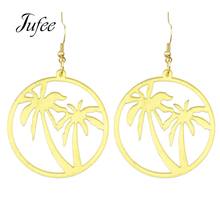 Jufee Punk Rock Style Fashion Jewelry Party Statement Earrings Gold-Color With Coconut Tree Drop Earrings For Women Accessories