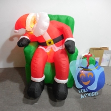 Funny Home Yard Outdoor Indoor Christmas Decoration Lighted Inflatable Santa Claus Sleeping on Sofa with Gift box