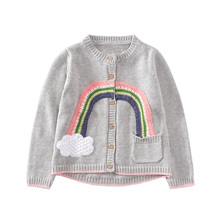 Kids Sweaters for Girls Clothing 2017 Brand Autumn Winter Baby Girl Sweater Coats Rainbow Pattern Outerwear Girls Cardigans