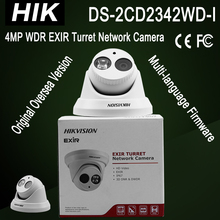 Hot sale DS-2CD2342WD-I Hik 4MP WDR EXIR Turret dome Network Camera H.264+ 2688x1520 IR 30m 3-axis adjustment Full HD10(China)