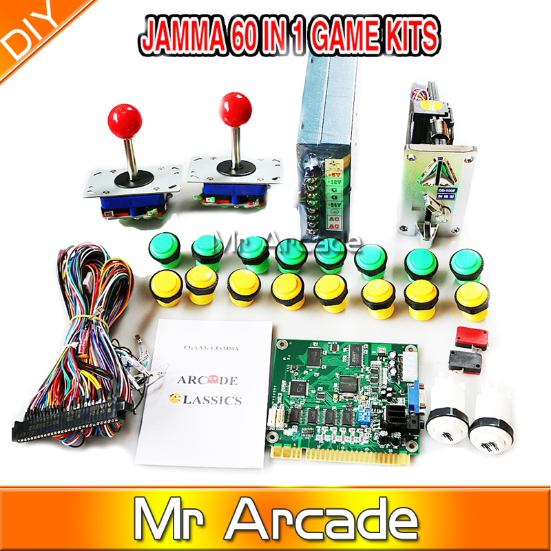 Classical arcade game 60 in 1 kit with 16A power supply zippy joystick 24mm button coin on amazon com jamma board standard cabinet wiring harness loom for bill evans wiring harness at readyjetset.co