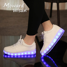 Fashion Womens Mens USB Glowing Casual LED Shoes with Light Up Luminous Sneakers Children Kids Boys Girls Basket LED Slippers 35