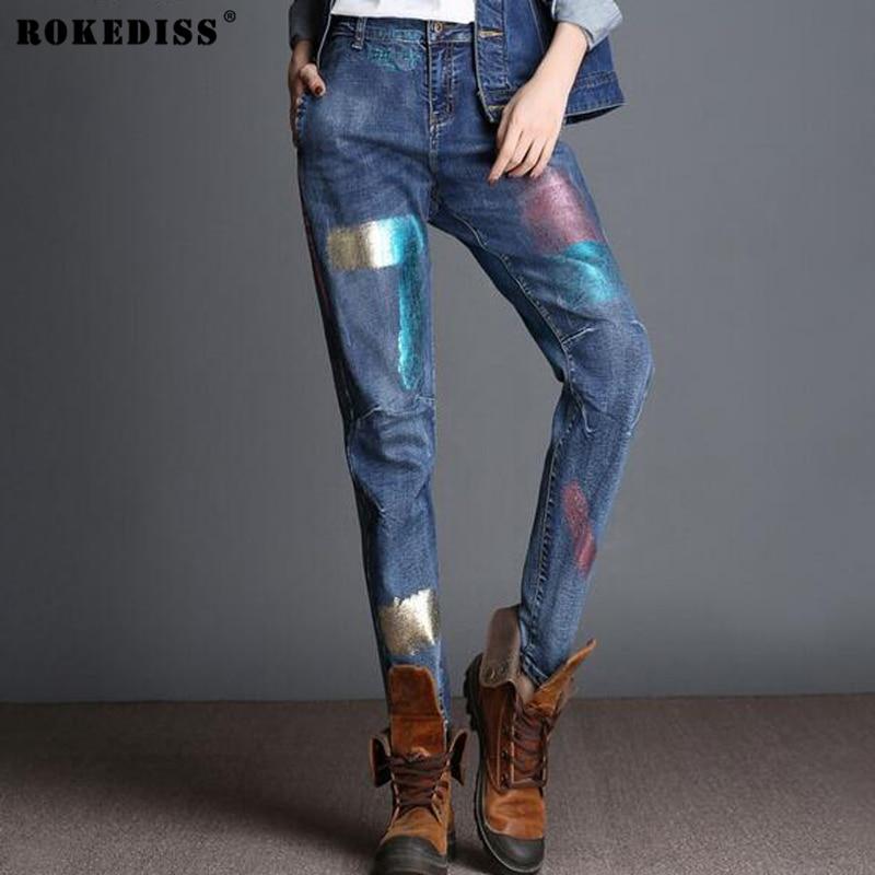 New Fall Winter High Waist Loose Harem Pants Vintage Denim Jeans Floral Print Large Size Painted Pattern Women Jeans 2016 TC209Îäåæäà è àêñåññóàðû<br><br>